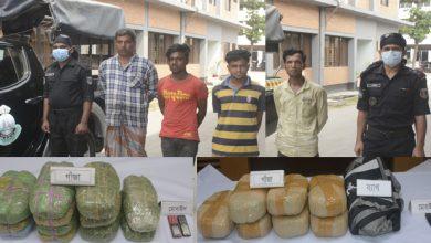 Photo of সিদ্ধিরগঞ্জ-সোনারগাঁ থেকে ২৪ কেজি গাঁজাসহ ৪ ব্যবসায়ী গ্রেফতার